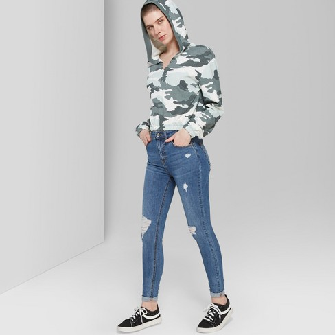 Women's High-Rise Distressed Skinny Jeans - Wild Fable™ Medium Wash - image 1 of 3