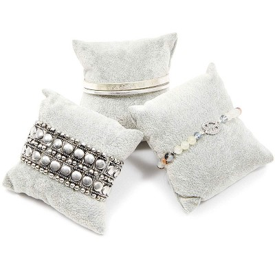 """Juvale 12 Pieces Velvet Bracelet Watch Pillow  3"""" x 3"""", Jewelry Display for Watches, Bracelets and Other Jewelry, Gray"""