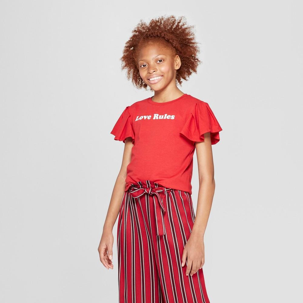 Girls' Short Sleeve Ruffle T-Shirt - art class Cherry L, Red