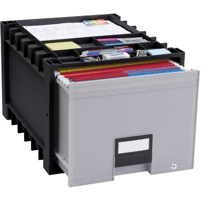 Storex Plastic Archive File Storage Box with Supply Storage Top - Black/Gray