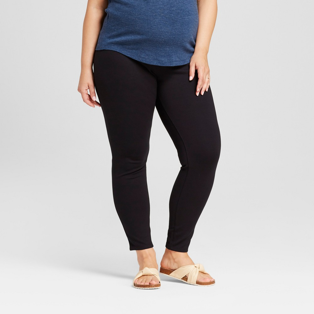 Maternity Plus Size Inset Panel Ponte Pants - Isabel Maternity by Ingrid & Isabel Black 1X, Women's