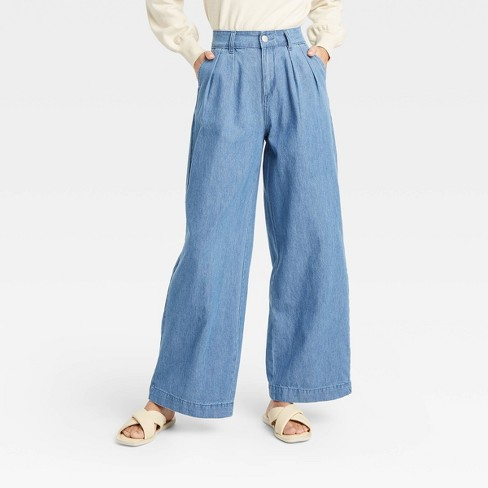 Women's High-Rise Wide Leg Jeans - Who What Wear™ Blue - image 1 of 3
