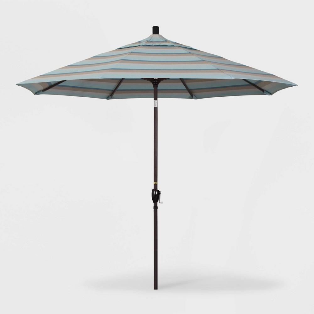 9' Pacific Trail Patio Umbrella Push Button Tilt Crank Lift - Sunbrella Gateway Mist (Blue) - California Umbrella