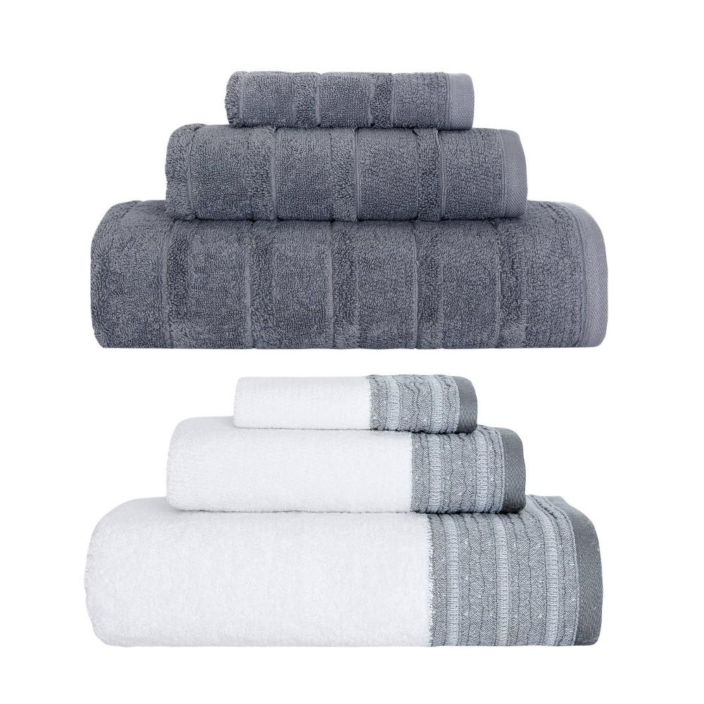Image of 6pc Luxury Fancy Towel Bundle Set White/Gray - Royal Turkish Towels