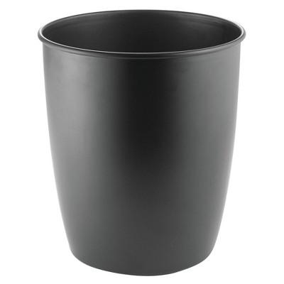 mDesign Round Metal Trash Can Wastebasket, Garbage Container