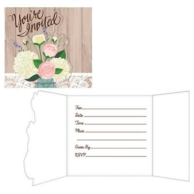 8ct Rustic Wedding Invitations