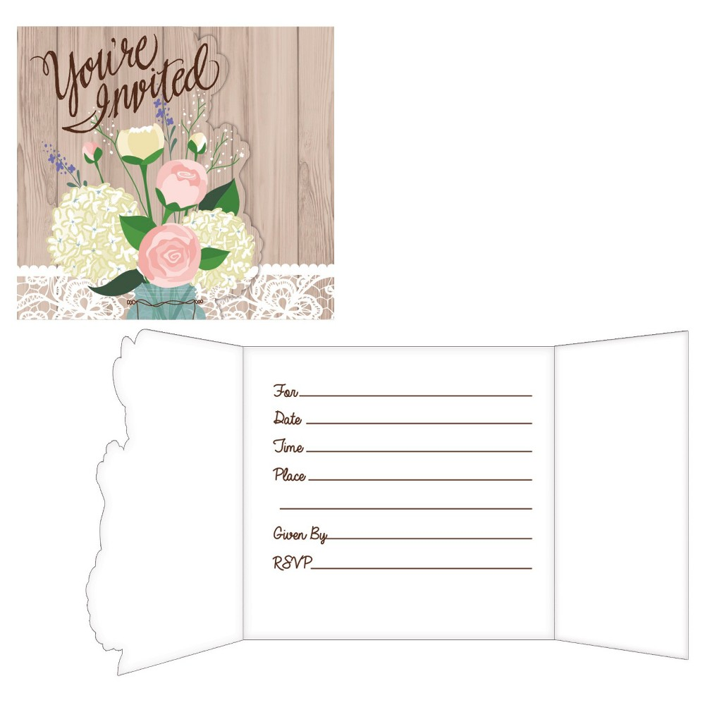 Rustic Wedding Invitations, 8 pk Invite loved ones to your special wedding with the Rustic Wedding Invitations! These wedding invitations feature the words  You're Invited  in cursive brown letters with a natural wood background as well as white lace and wildflower bouquet prints on the front. Sold in packages of 8, the invite has a diecut gatefold feature — so just fill the spaces inside with your wedding event details! Color: Multi-Colored. Pattern: Floral.