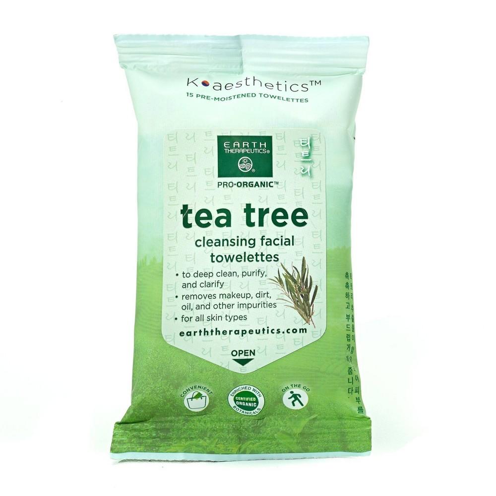 Earth Therapeutics Makeup Remover Wipes Tea Tree 15ct