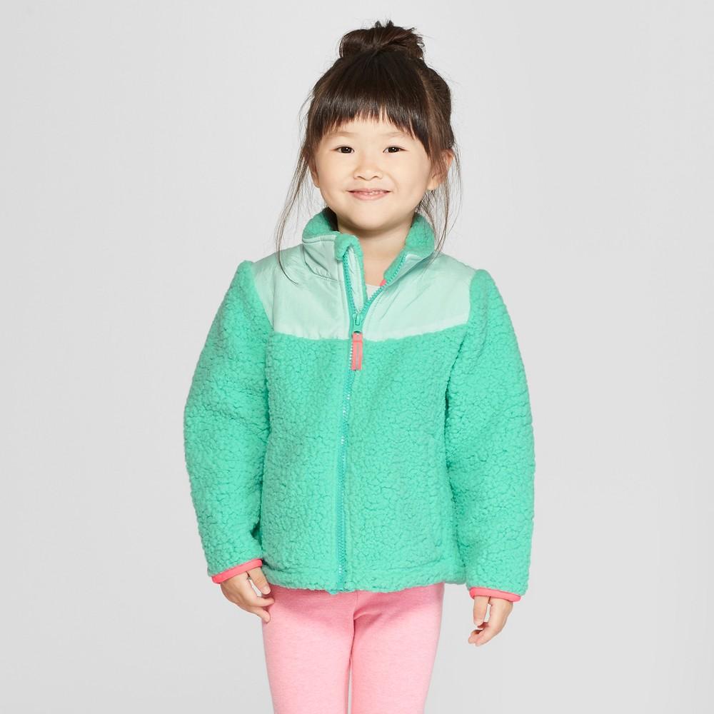 Toddler Girls' Zip-Up Fleece Jacket - Cat & Jack Turquoise 3T, Green