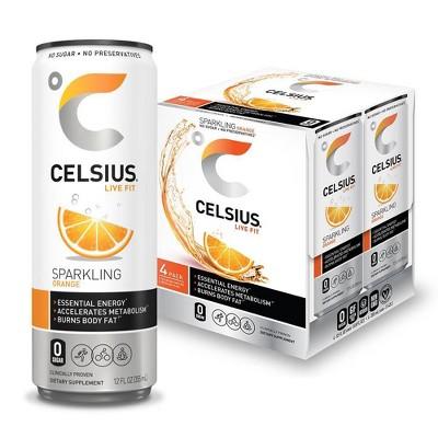 Celsius Sparkling Orange Energy Drink - 4pk/12 fl oz Cans