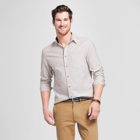 Men's Standard Fit Cotton Slub Plaid Long Sleeve Button-Down Shirt - Goodfellow & Co™ - image 1 of 3