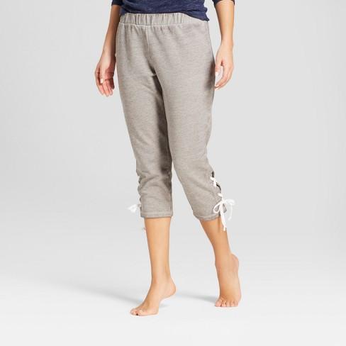 e2c1dacd200a Women s Lace-Up Cropped Pajama Pants - Xhilaration™ Gray