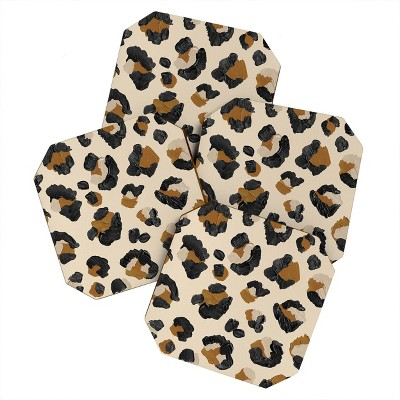 4pk Cat Coquillette Leopard Print Coasters - society 6