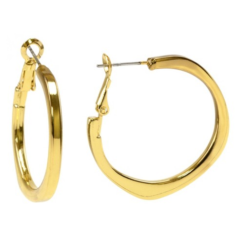 Uneven Oval Clutchless Hoop Earring - Gold - image 1 of 1