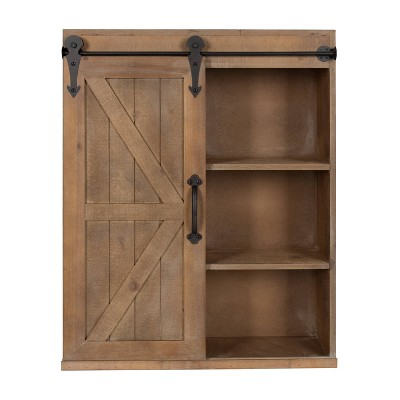 Decorative Wall Storage Cabinet with Sliding Barn Door Rustic Brown - Kate & Laurel All Things Decor
