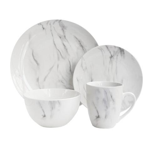 American Atelier 16pc Porcelain Marble Dinnerware Set