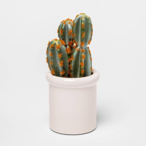 "8.5"" x 3.2"" Artificial Cactus in Ceramic Pot Green/White - Threshold™ - image 1 of 1"