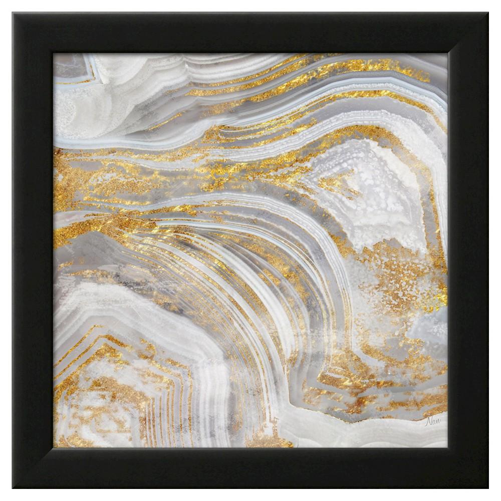 Agate Allure I Black Wood Framed Art Print, Gold