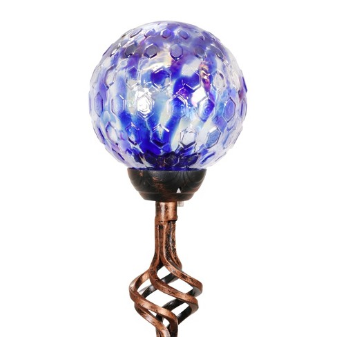 """31"""" Resin Solar Pearlized Glass Honeycomb Finial Garden Stake Blue - Exhart - image 1 of 4"""