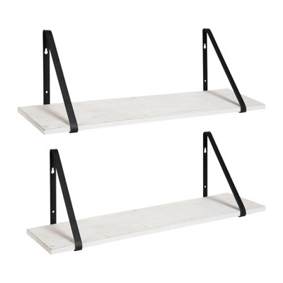 "2pk 28"" Soloman Wooden Shelves with Brackets White/Black - Kate and Laurel"