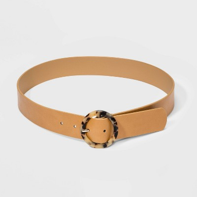 Women's Tortoise Resin Circle Buckle Belt - A New Day™ Brown