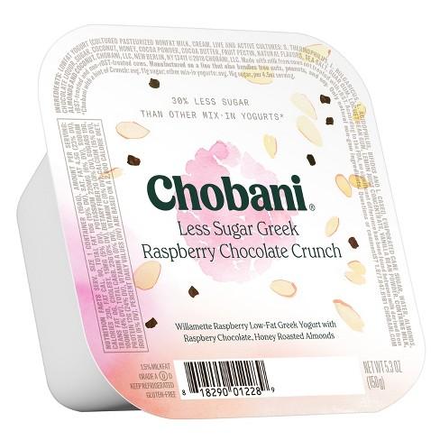 Chobani Less Sugar Raspberry Chocolate Crunch Greek Style Yogurt - 5.3oz - image 1 of 1