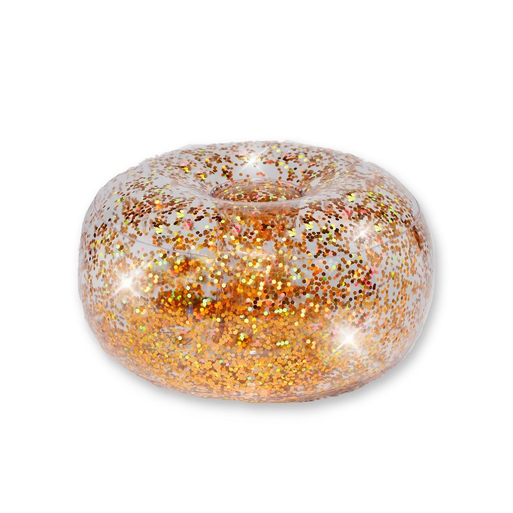 Image of Inflatable Glitter Ottoman Gold Glitter - Air Candy, Clear