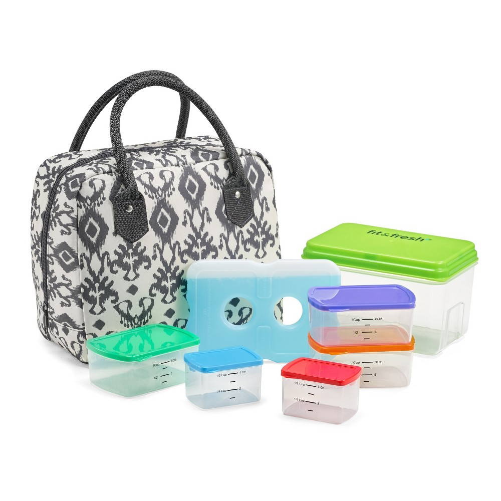 Image of Fit & Fresh Bloomington Lunch Tote - Charcoal Ikat