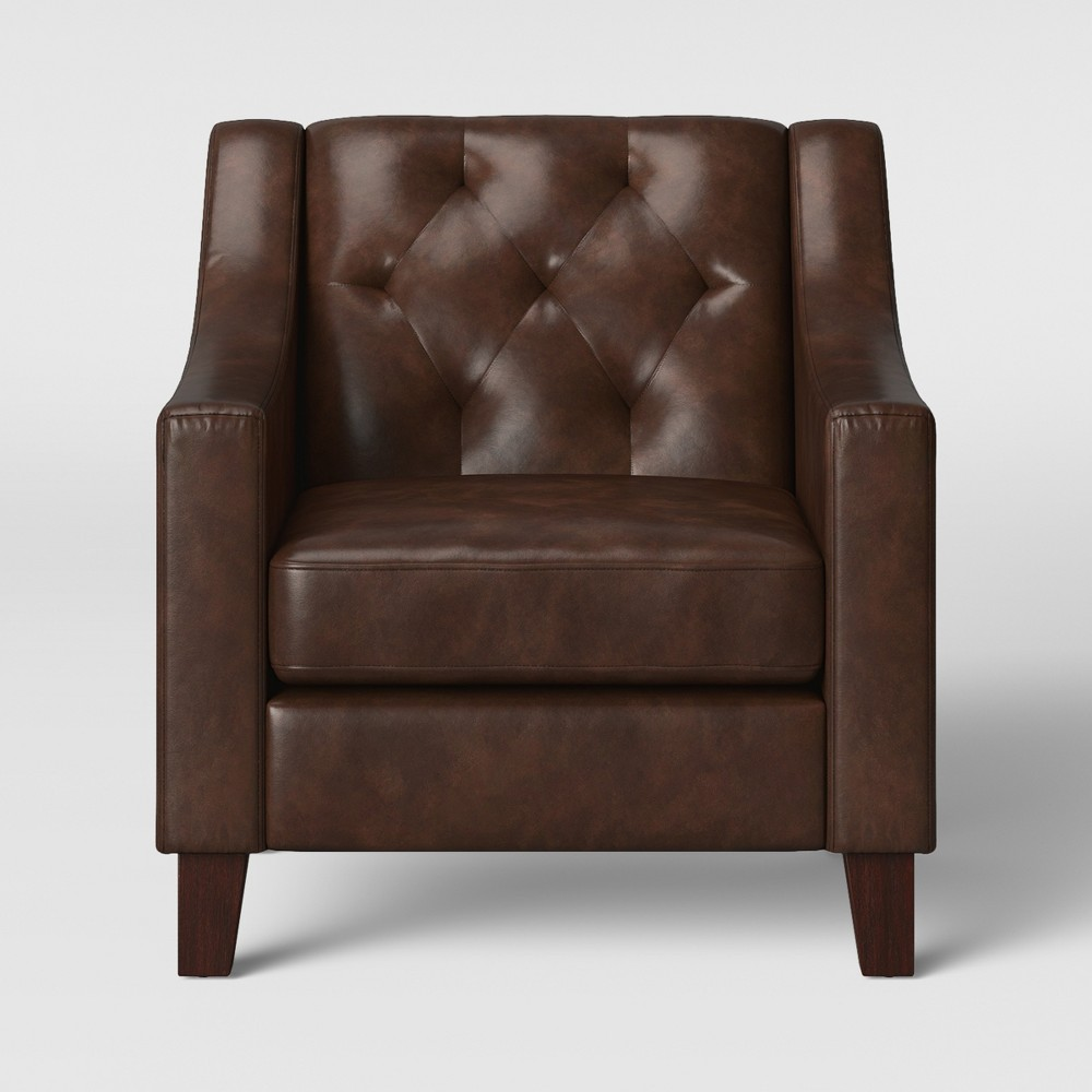 Felton Tufted Chair Faux Leather Espresso (Brown) - Threshold