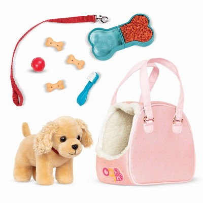 """Our Generation Hop In Dog Carrier & Pet Plush Puppy for 18"""" Dolls"""