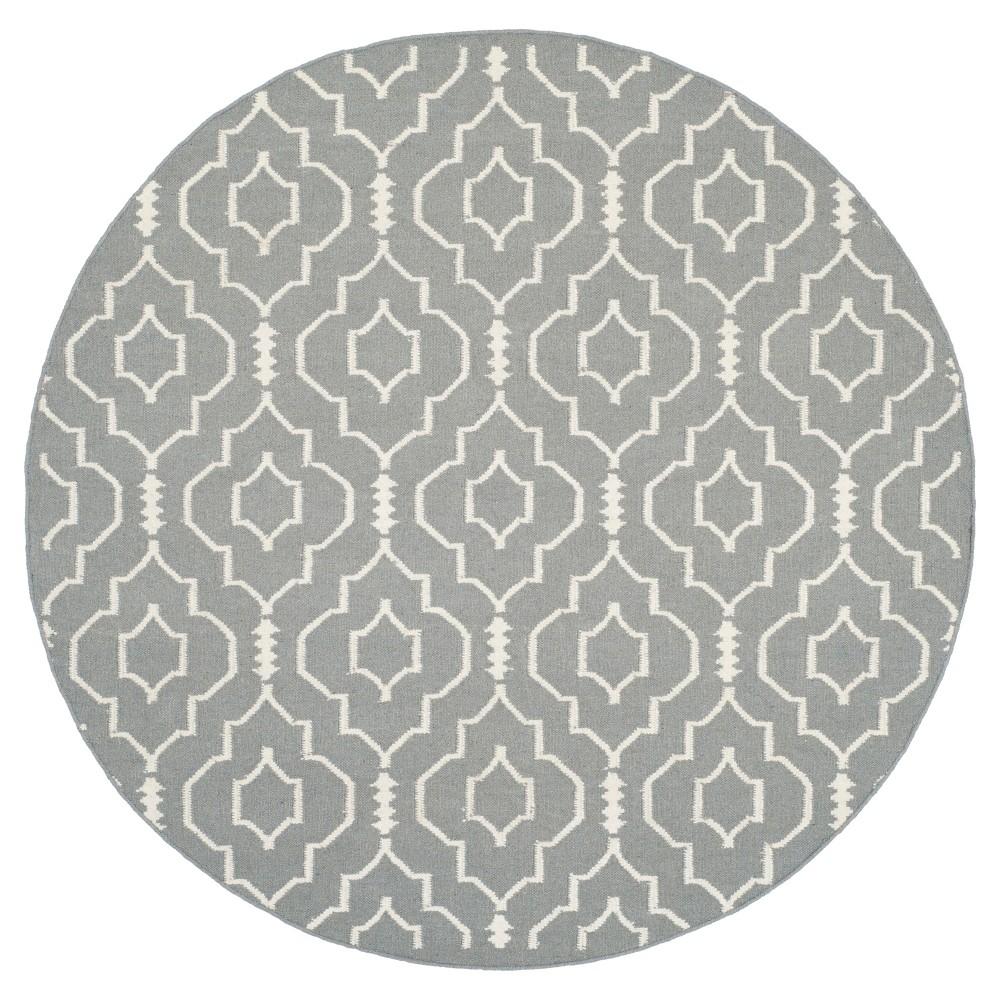 Cheap Dhurries Rug - Gray Ivory - (6x6 Round) - Safavieh