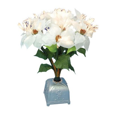 """Northlight 20"""" Pre-Lit White and Green Poinsettia Artificial Christmas Plant"""