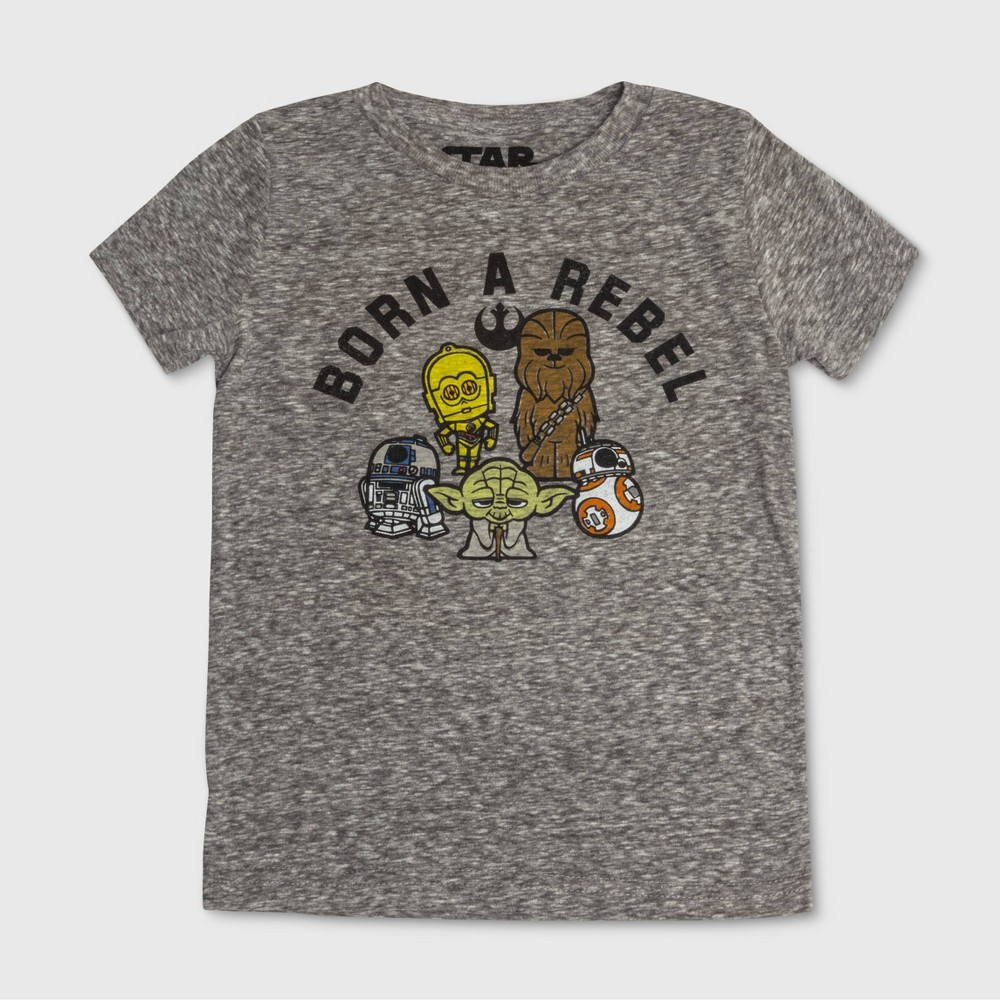 Toddler Boys Star Wars Born a Rebel Short Sleeve Graphic T-Shirt - Gray 12M Coupons