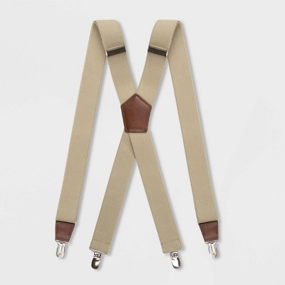 Men's Solid Suspenders - Goodfellow & Co™ Khaki One Size