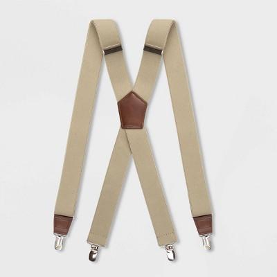 Men's Solid Suspenders - Goodfellow & Co™ Khaki One Size