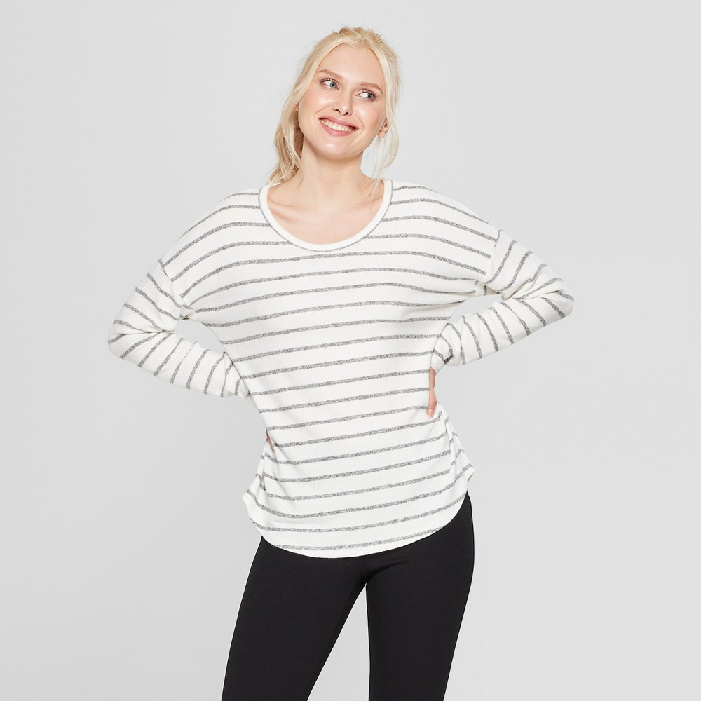 Women's Striped Long Sleeve Cozy Knit Top - A New Day Cream/Gray M, White