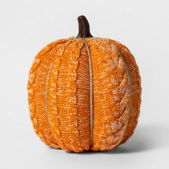 Knit Orange Pumpkin Halloween Decoration Large - Spritz™ - image 1 of 1