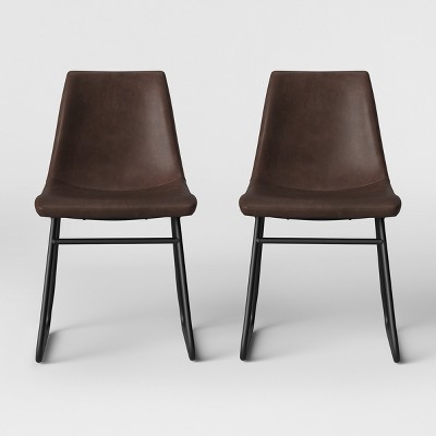 2pk Bowden Faux Leather and Metal Dining Chair Brown - Project 62™