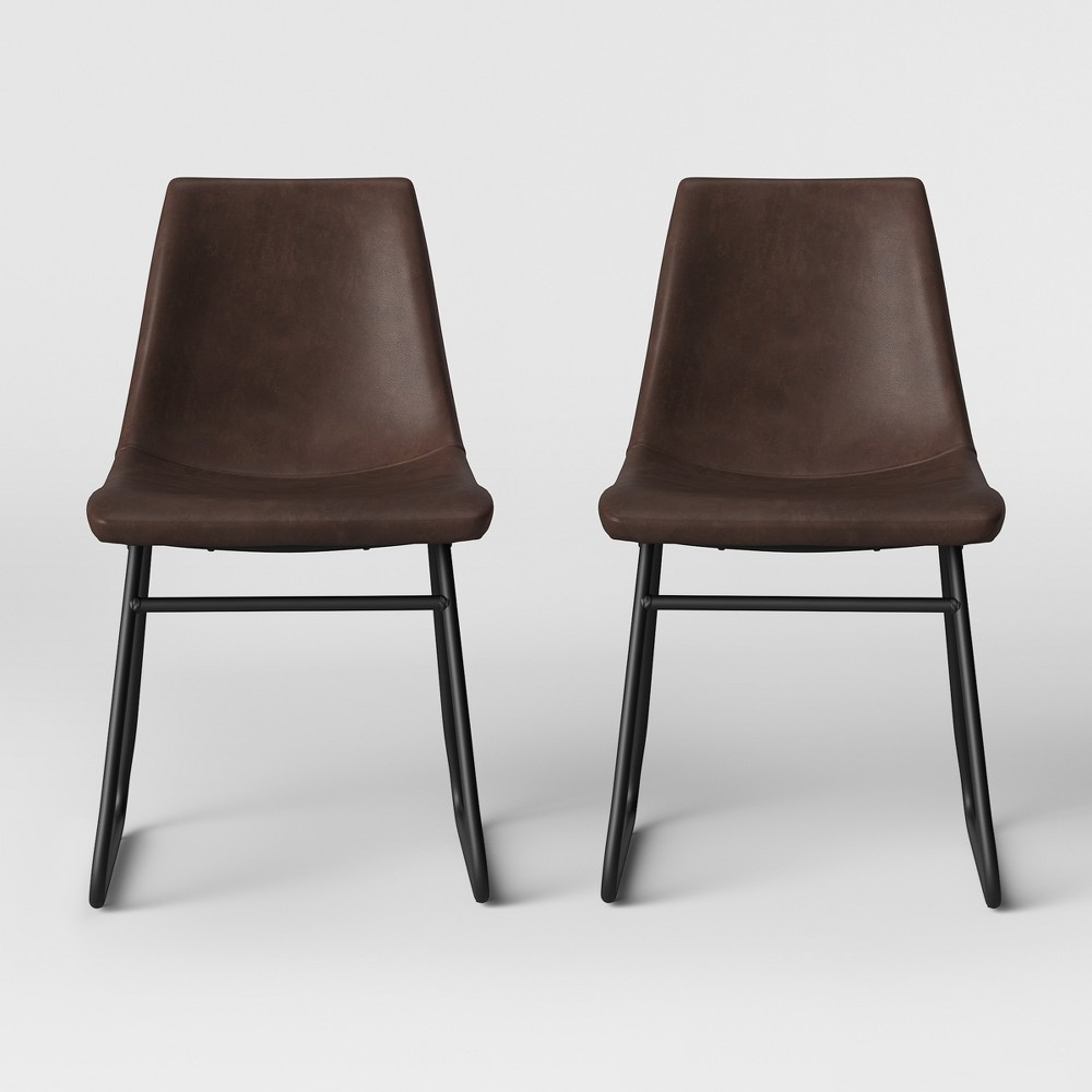 2pk Bowden Faux Leather And Metal Dining Chair With Black Legs Brown - Project 62
