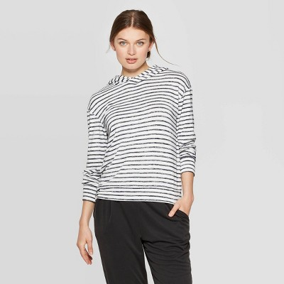 Women's Striped Casual Fit Long Sleeve Hooded T Shirt   A New Day by Shirt