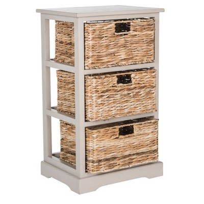 Captivating Halle Side Table With Wicker Baskets Vintage Gray   Safavieh® : Target