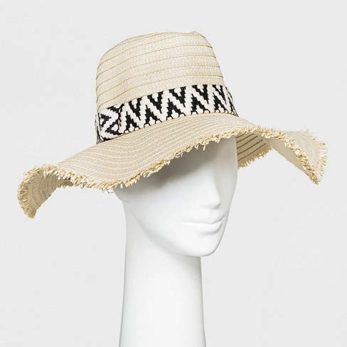 Women's Straw Floppy Hat - A New Day™ Natural/Black - image 1 of 1