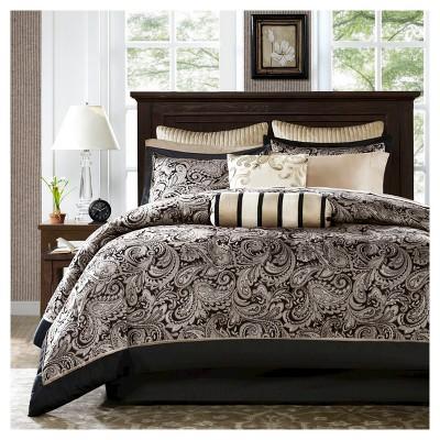 Black&Silver Charlotte Jacquard Complete California KingComforter Set - 12 Piece