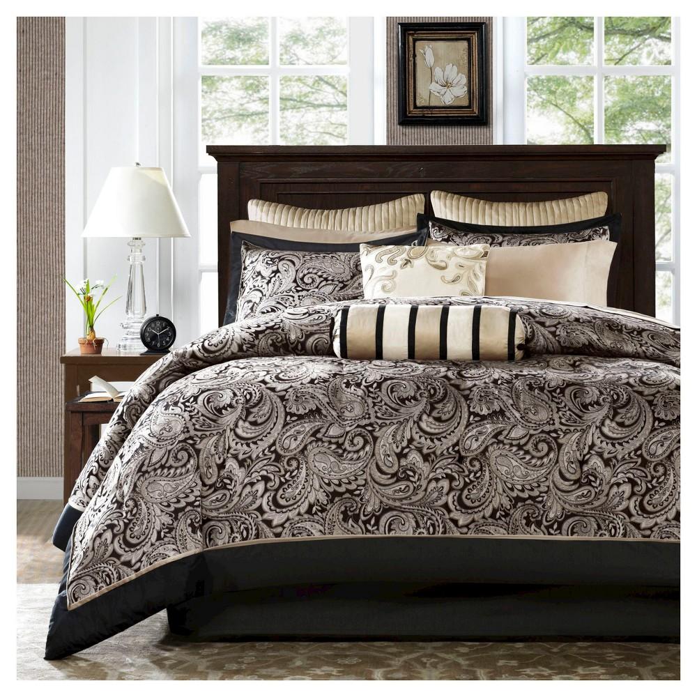 Image of 12pc Cal King Charlotte Jacquard Comforter Set Black/Silver