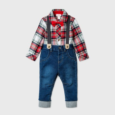 Baby Boys' Denim Plaid Top & Bottom Set with Bow Tie - Cat & Jack™ Red 0-3M