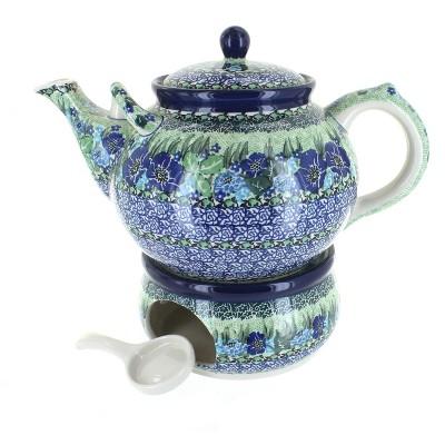 Blue Rose Polish Pottery Sapphire Fields Teapot & Warmer