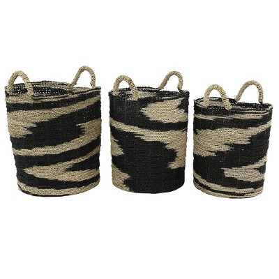 Olivia & May Set of 3 Large Round Swirl Seagrass Baskets Black/Natural