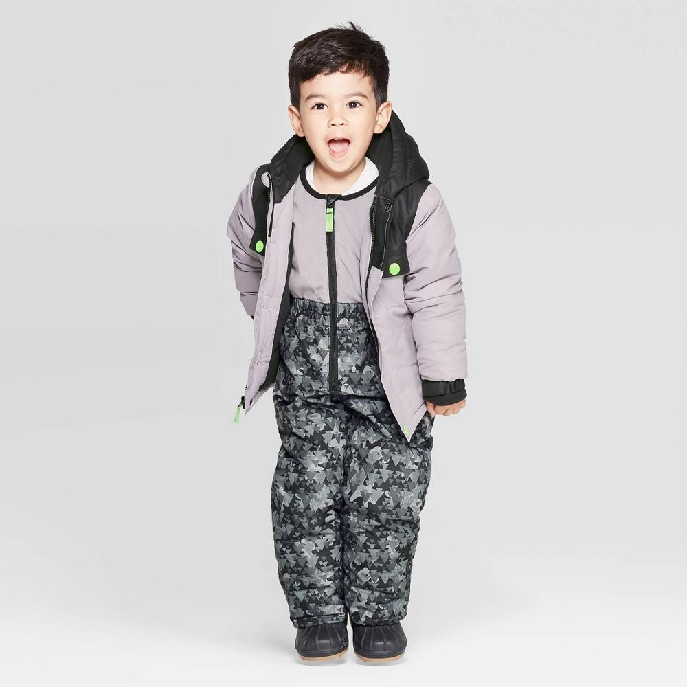 Image of Toddler Boys' Coat & Bib Set - Cat & Jack Gray 12M, Boy's