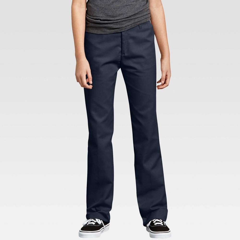 Dickies Girls 39 Flex Slim Fit Straight Leg Flat Front Pants Dark Navy 8