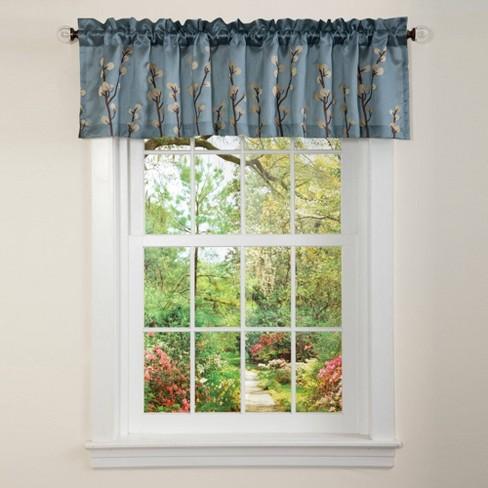 "18""x84"" Cocoa Flower Window Valance Blue - Lush Dcor - image 1 of 4"